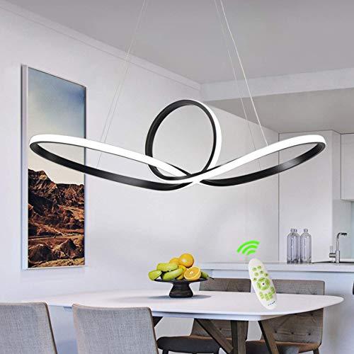 YYXLL LED Pendelleuchte Esstisch Kronleuchter Wohnzimmer Küche Insel Lampe Moderne Metall Hängelampe Deckenleuchte Schlafzimmer Hängelampe Dimmbar Mit Fernbedienung Schwarz 60cm