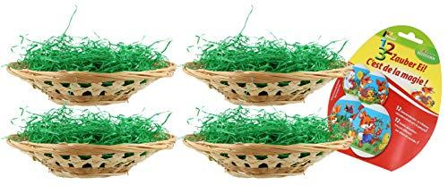 com-four® 16-teiliges Oster-Set mit Bastkörben, Ostergras und Dekorbanderolen - Oster-Deko zum selber Machen - Osternest - Osterkörbchen (16-teilig - Korb+Farbe+Schrumpffolie)