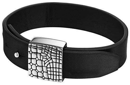 Joop! Unisex-Armband Edelstahl mit Leder JPBR10312A220