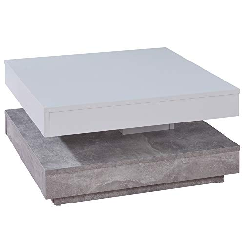 trendteam smart living Wohnzimmer Couchtisch Wohnzimmertisch Universal, 70 x 35 x 70 cm weiß/beton mit drehbarer Tischplatte