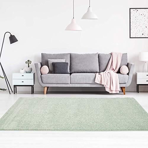 carpet city Teppich Einfarbig Uni Flachfor Soft & Shiny in Grün für Wohnzimmer; Größe: 140x200 cm