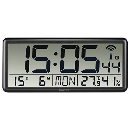 Hama Digitale Wanduhr XXL mit Funk (Digitaluhr mit Thermometer und Hygrometer, große Funkuhr mit Datum und Wochentag, gut ablesbar Wand Uhr zum Hängen und Stellen, inkl. Batterie) schwarz
