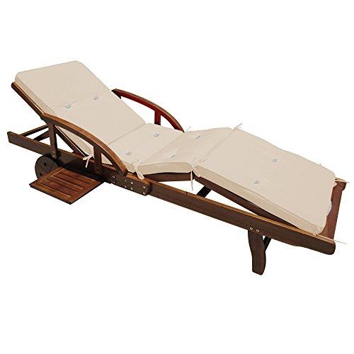 Deuba Sonnenliege Tami Sun inkl Auflage Akazien Holz verstellbar ausziehbarer Tisch klappbar Gartenliege Holzliege Liege