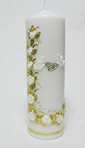 Handmade Hochzeitkerze Hochzeit Kerze Tischdekor incl. Beschriftung KW-JO-S06 Weiß-Gold