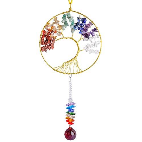 Nupuyai Regenbogen Sonnenfänger Kristall Edelstein Baum des Lebens Anhänger Aufhängen Fensterdeko