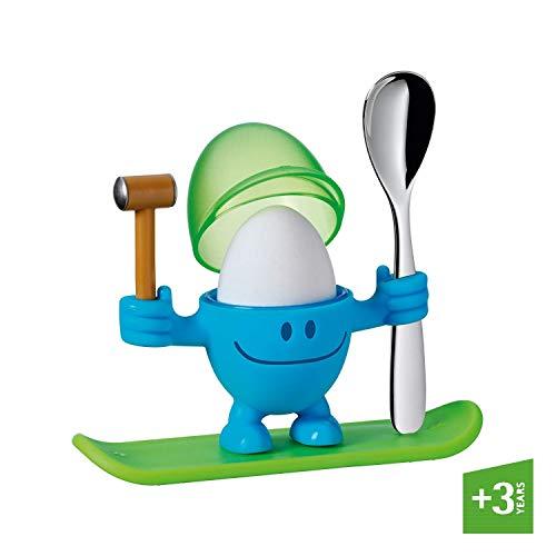 WMF McEgg Eierbecher mit Löffel, Kunststoff, Cromargan Edelstahl poliert, spülmaschinengeeignet, blau