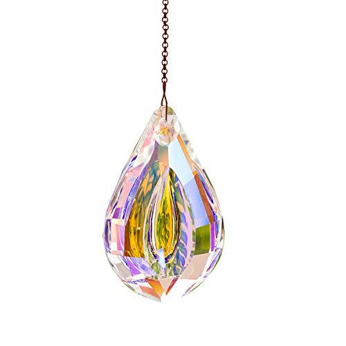 Hey_you Kristall Sonnenfänger Prisma Anhänger Regenbogen Maker Hängende Sonnenfänger mit Kette für Sonnenfänger, Fenster, Garten, Heimdekoration (76mm)