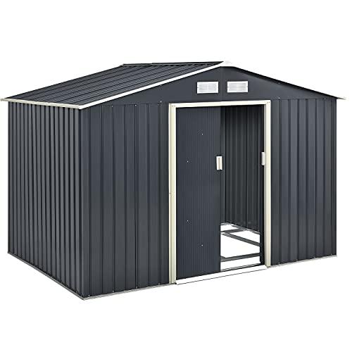 Juskys Metall Gerätehaus XL mit Satteldachdach, Schiebetür & Fundament   9m³   anthrazit   Geräteschuppen Gartenhaus Metallgerätehaus
