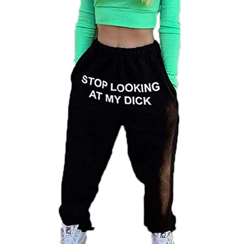 Worclub Damen elastische Taille Jogginghose Sport Knielange Hose Lustige Briefdrucke Tops