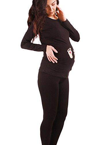 Fußabdrücke Baby mit Herz - Lustige witzige süße Umstandsmode Umstandsshirt mit Motiv für die Schwangerschaft Schwangerschaftsshirt, Langarm (Schwarz, Medium)