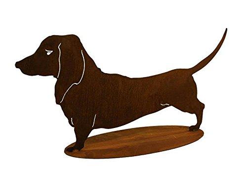 Rostdeko für Garten - Hundedeko: Dackel auf Platte (Fester Stand) - Länge 72cm / Höhe 35cm - Edelrost Tiere