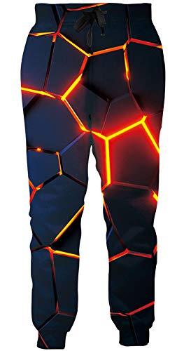 Loveternal Jogginghose Herren 3D Druck Hosen Geometrisch Design Lustige Jogger Sport Pants Casual Baggy Geometric Sweatpants für Frauen Männer M