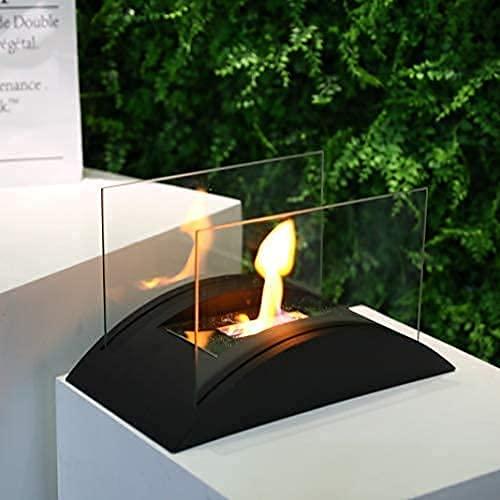 JHY DESIGN Rechteckiger Tisch Feuerschale 35cm Bioethanol Tischkamin Topf Bio Ethanol Kamin Glas Tragbarer Tischfeuer für Deko Tisch Patio Party Innen Garten Wohnzimmer Balkon Outdoor Indoor Innen
