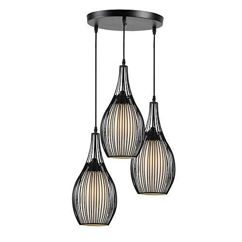 CARYS Hängeleuchte Vintage Pendelleuchte E27 Leuchtmittel Hängelampe Industrielle Runde Schwarz 3-flammig Retro Metall Wohnzimmer Schlafzimmer Esszimmer Küche