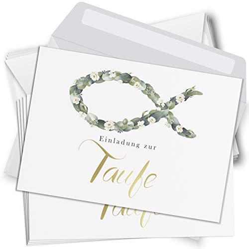 15 Einladungskarten Taufe mit Umschlägen Motiv Fisch Einladung weiss Karten zur Feier Jungen Mädchen rosa blau