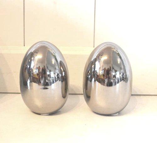 HKT Home Deco Osterei aus Keramik Silber Osterdeko 2 Stück Set Osterei Ei Edel Tischdeko Chrom Deko ca. 10cm
