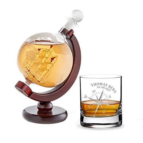 AMAVEL Whiskykaraffe Globus mit Schiff, Whiskyglas mit Kompass, Personalisiert mit Namen und Datum, Tumbler und Decanter