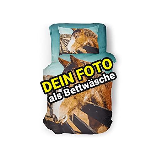 Carpezz Bettwäsche Set Bedruckt mit eigenem Foto   Bettwäsche selbst gestalten   Bettwäsche mit Wunsch-Motiv   135x200 cm