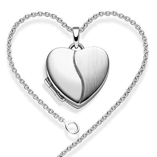 Herz Medaillon zum Öffnen *GRATIS PREMIUM ETUI* Silber 925 Foto Herz-Kette Foto-Kette Amulett Halskette Damen Anhänger Medallion Medalion Medaillons aufklappbar Geschenke für Freundin Frauen