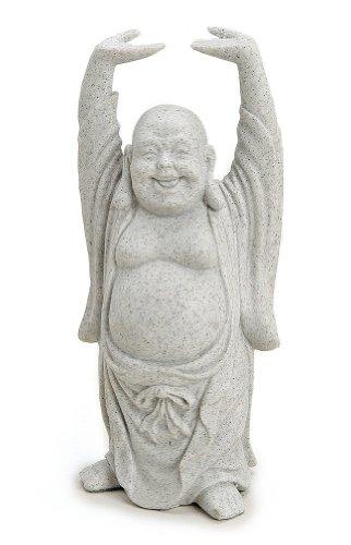 TEMPELWELT Deko Figur Happy Buddha Figur stehend in Stein Optik aus Polystein grau, 16 cm groß, Statue Dicker Mönch lachend, Glücksbuddha Budai
