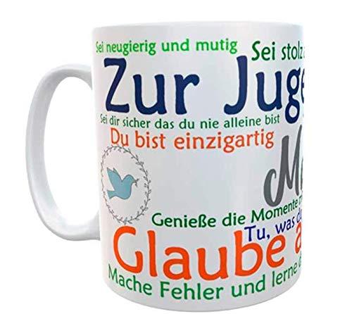 Kilala Tasse Jugendweihe Geschenk Sprüche mit Name Kaffeetasse personalisiert Wunschname Geschenkidee Anker Taube
