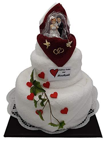 Frotteebox Geschenk Set Hochzeitstorte dreistöckig in Handarbeit geformt aus 1x Duschtuch (140x70cm), 1x Handtuch (100x50cm) und 2X Gästetuch weiß/rot mit Brautpaar H 35cm
