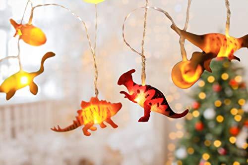 Lichterkette Kinderzimmer Junge mit Timer – 3 Meter LED Batterie Nachtlicht Dino Deko Kindergeburtstag, Dino Figuren Lampe kleine Dinosaurier Figur Set - Party Licht Vorhang Dinos batteriebetrieben