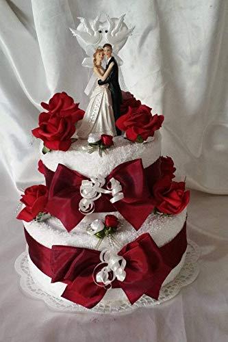 * Handtuchtorte * Hochzeit * bordeauxe-weiß
