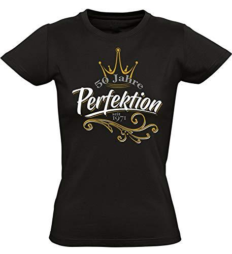 Geburtstags Shirt: 50 Jahre Perfektion - Jahrgang 1971 - Fünfzigster Geburtstag T-Shirt - Geschenk zum 50. - Damen - Frau - Frauen - Freundin - Birthday - Lustig - Witzig - Fun - Tailliert (M)