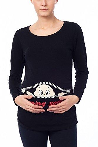 Coming Soon - Lustige witzige süße Umstandsmode Umstandsshirt Sweatshirt Schwangerschaftsshirt mit Motiv für die Schwangerschaft, Langarm (Schwarz, Medium)