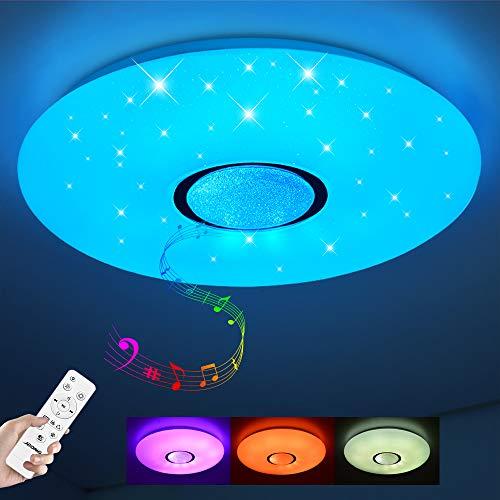 Led Deckenleuchte mit Fernbedienung und App dimmbar 24W Bluetooth Deckenleuchte Sternenhimmel,Farbwechsel RGB Warmweiß/Kaltweiß IP44 Wasserfest