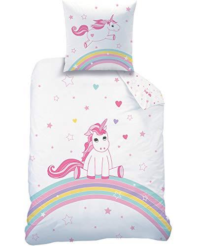 Familando Einhorn Wende Bettwäsche-Set 135x200 80x80 cm   100% Baumwolle   Unicorn Rainbow Regenbogen Kinder-Bettwäsche für Mädchen