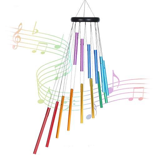Goomis windspiele für draußen, 72cm Memorial Windspiele mit Haken, 14 Farbe Aluminiumlegierungsrohre (Regenbogenfarben)