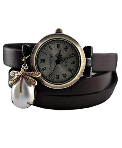 'Libelle'II Echtleder Armbanduhr - Geschenk für Sie - Schmuck-Geschenk - Handmade Geschenk