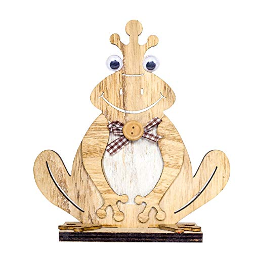 Earthily Ostern Frosch Dekoration - Osterdeko Holz, Osterdekoration Patio Yard Art Decor