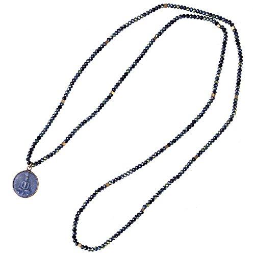 KELITCH Handmade Glänzend Glas Kristall Facettiert Perlen Länge Halskette mit Buddha Anhänger - I