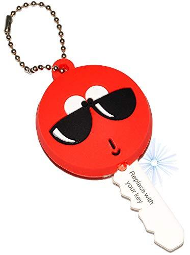 alles-meine.de GmbH 1 Stück _ Schlüsselanhänger mit LED Licht -  lustiges Gesicht mit Sonnenbrille  - Taschenlampe für Tasche & Auto - Schlüsselhülle Lampe / Projektor - Licht ..