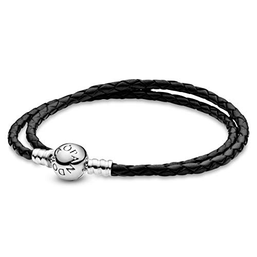 Pandora Moments Armband, schwarzes Leder, zweifach gewickelt, Sterling Silber 590745CBK-D2