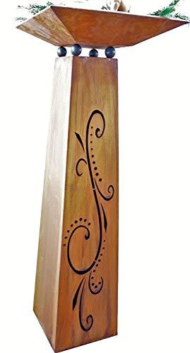 Rostikal | Edelrost Säule Flori mit Pflanzschale | Rost Blumen Säule zur Gartendenko | Höhe 115 cm mit Schale 40 x 40 cm