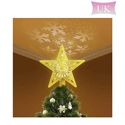 Hosdog Star Baumspitze mit Lichtern, Stern Baum Top Projektor Verstellbarer Winkel mit LED-Lichtern, Weihnachtsbaumspitze Dekoration für Weihnachten, Party, Festival, Innendekoration, Geschenk Gold*