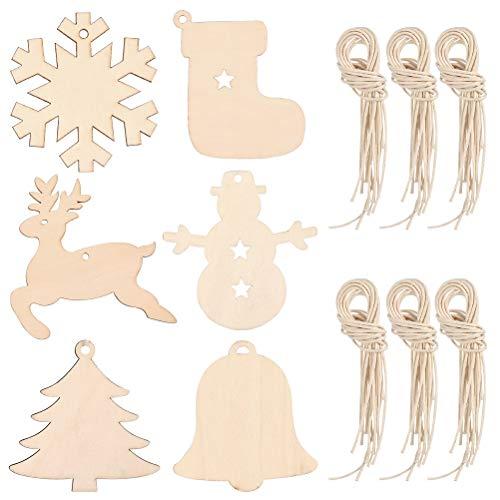 TIMESETL 60Stück Holzanhänger Weihnachten Holzverzierung, Hängende Ornamente Holz Tags Dekohänger mit Schnur, 8x8cm Holz Ausschnitt Handwerkliche Verzierungen für Weihnachtsdeko Weihnachtsbaumschmuck
