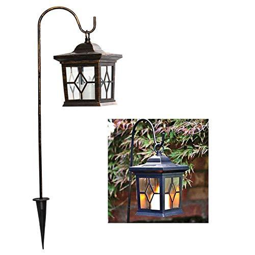 esto24® LED Solar Laterne Kupfer Vintage incl. Metallstange zum Aufhängen Kerze mit Flammeneffekt und 4 Solarzellen mit Dämmerungsautomatik für Terrasse, Garten oder Wegbeleuchtung Deko (Vintage)