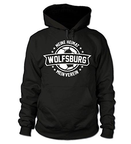 shirtloge - Wolfsburg - Meine Heimat, Mein Verein - Fan Kapuzenpullover - Schwarz - Größe XL