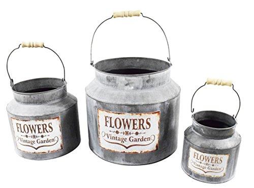 3er Set Pflanztopf Milchkanne Vintage Flowers Blumen Pflanzkübel Pflanztöpfe Blumentopf