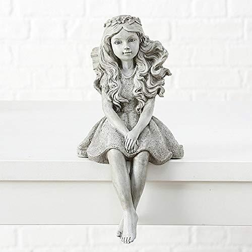 CasaJame Figur Garten sitzend Kantensitzer Gartendekoration Gartenelfe Fee Elfe Deko Magnesia Grau Fairy Garden, Höhe 39cm