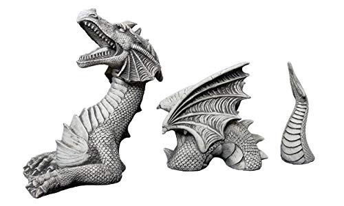 gartendekoparadies.de Massive Steinfigur riesiger Drachen aus Steinguss frostfest