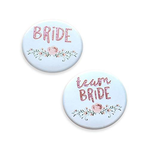 Buttons für Junggesellinnenabschied & Polterabend - JGA-Deko-Accessoires - 1x Bride- & 10x Team Bride-Anstecker - Tolle Geschenke für Hochzeit, Party oder als Witz zum Junggesellenabschied