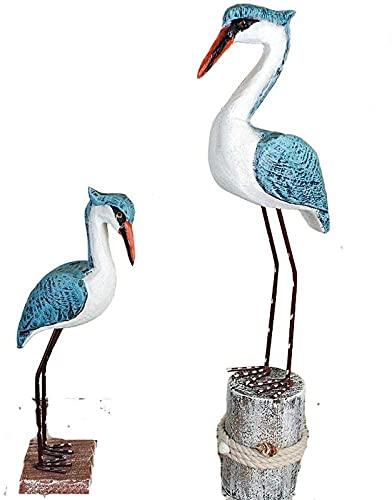 CFDZCP Gartenfiguren Außenbeleuchtung Skulptur Dekorationen Puppe Sammlung Statue Holz Tier Handwerk Meervogel Hauptdekoration Weinkabinettschreibtisch