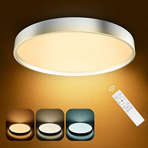 Deckenleuchte Anten 36W LED Deckenlampe Dimmbar Ø39cm 3000-6500K Lichtfarbe u. Helligkeit einstellbar Moderne Deckenbeleuchtung mit Fernbedienung Innenleuchte für Kinderzimmer Wohnzimmer, Silberrahmen