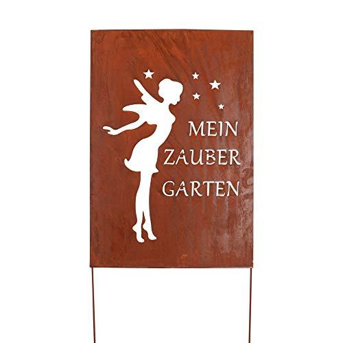 RM Design Gartendeko Gartenstecker aus Edelrost Metall Garten Schild Zaubergarten 90x60 cm